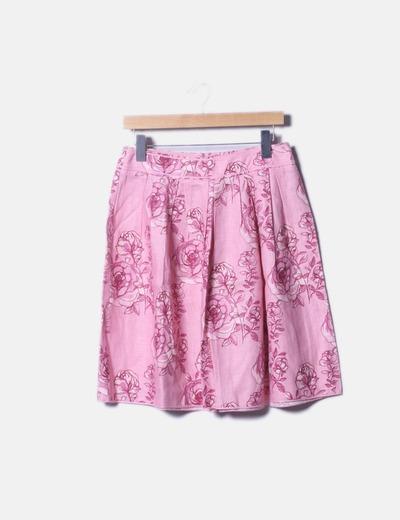 Falda midi rosa estampado floral