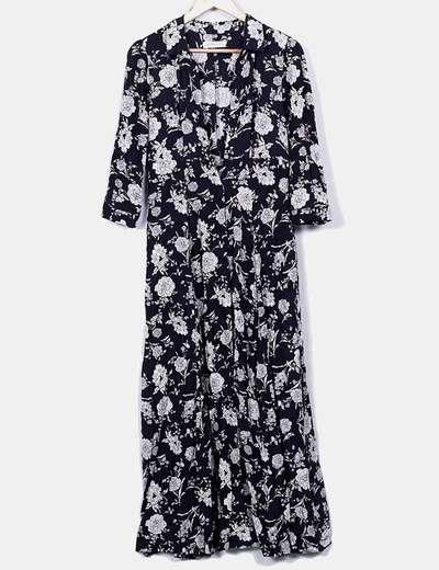 Maxi vestido camisero floral fluido
