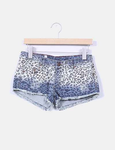 Shorts denim animal print Pull&Bear
