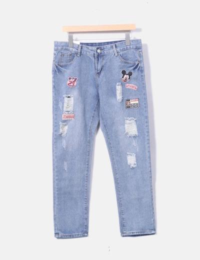 Jeans denim parches