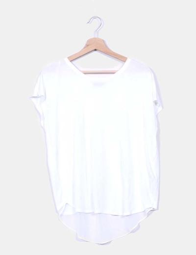 Camiseta blanca manga corta espalda gasa Massimo Dutti