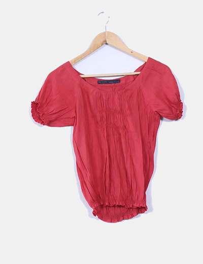 Blusa roja drapeada Zara