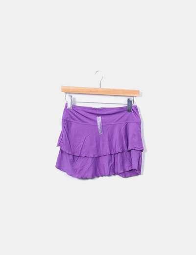 Mini-jupe violette avec maillots de bain à volants Tex Woman