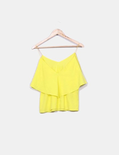 Blusa volantes amarilla