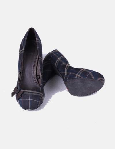 Zapato print cuadros con puntera cuadrada