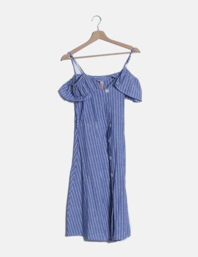 Vestido rayas azules abotonado