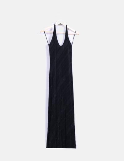 Vestido maxi negro con brillos Thank's Valencia
