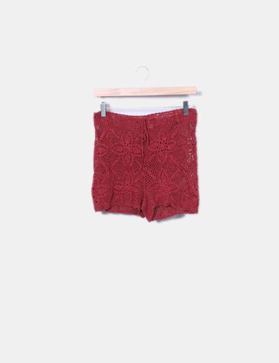 Short en crochet rojo Oysho
