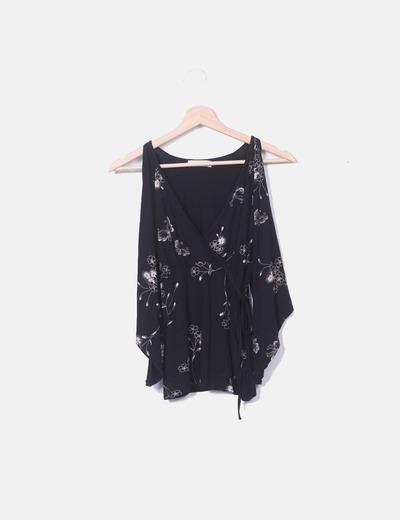 Blusa hombros descubiertos negra Zara