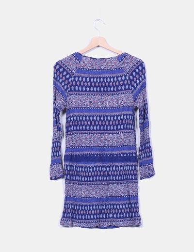 Vestido drapeado azul marino estampado