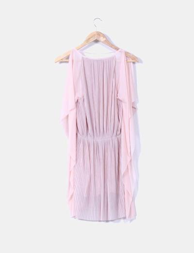 Vestido de tablas rosa mangas mariposa