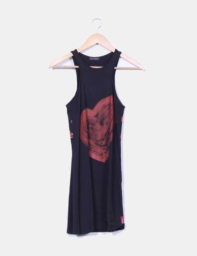 Robe noire sans manches fleurs imprimé Desigual