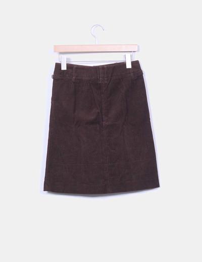 Falda midi marron micropana