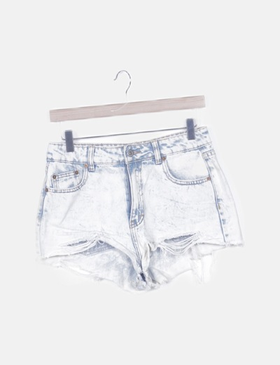 Short denim blanco desflecado