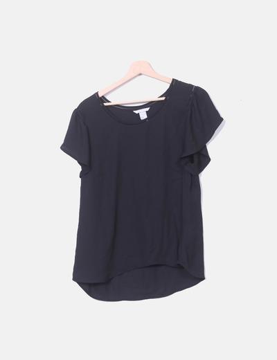 Blusa negra de gasa con volantes H&M