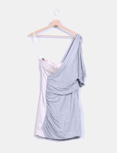 Vestido combinado bicolor gris y beige