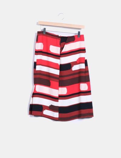 Falda midi con estampado multicolor NoName