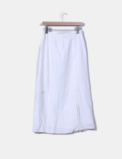 Falda maxi de lino blanco borada