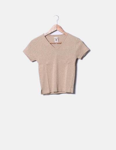 Camiseta de punto camel con destellos dorados Amichi