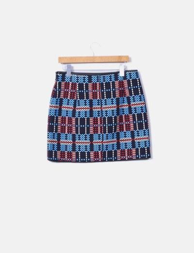 Mini falda texturizada ribetes polipiel
