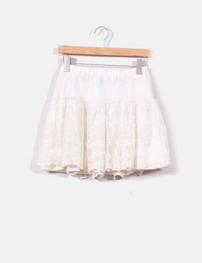 Falda beige tul bordados florales Zara