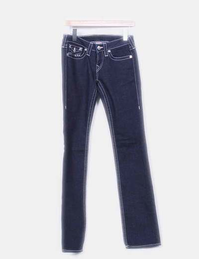 Jeans denim azul oscuro costuras blancas True Religion