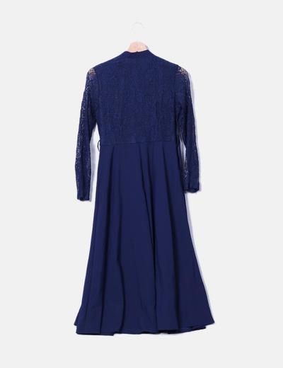 Vestido azul marino midi mangas crochet