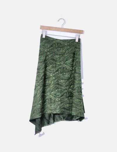 Falda midi verde bordado jaspeado con vuelo