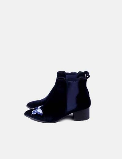 Bottines bleues en velours NoName