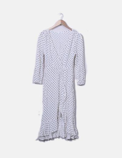 Kleid gekreuzt weiße schwarze Punkte Mango
