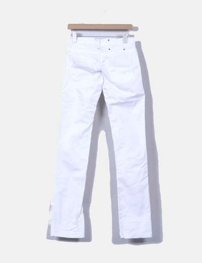 Pantalon denim pitillo blanco