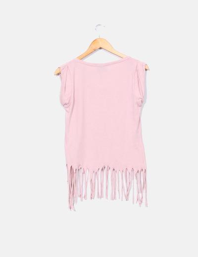 Top rosa print marilyn monroe con flecos