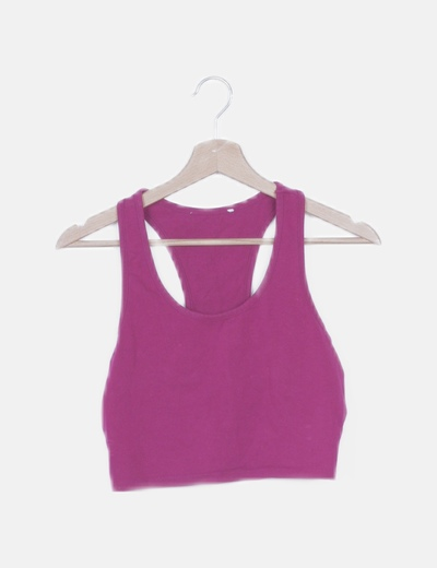 Top fucsia lace up