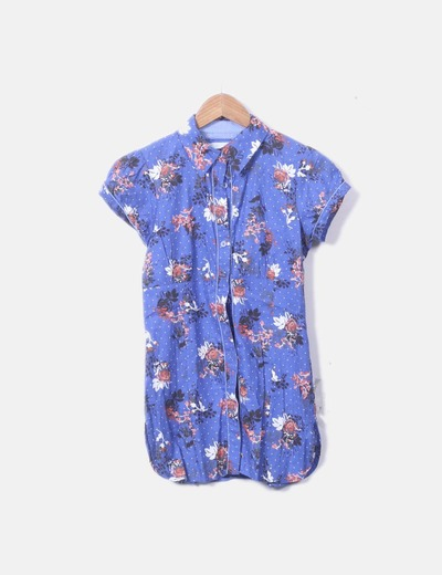 Vestido camisero azul marino topos