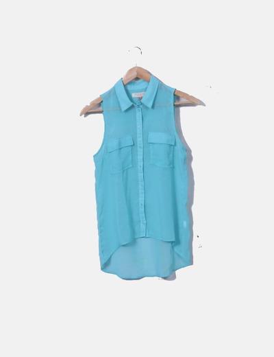 Camisa azul de gasa
