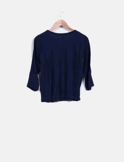 Sueter tricot azul marino mangas francesas