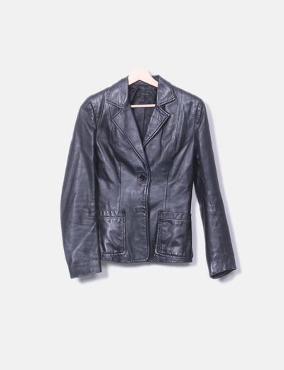 Blazer polipiel negro Zara