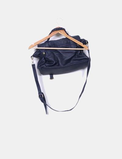 Bolso sachel azul marino polipiel