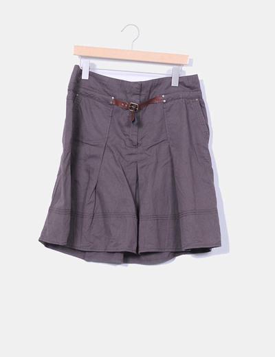 Falda marrón con cinturón Zara