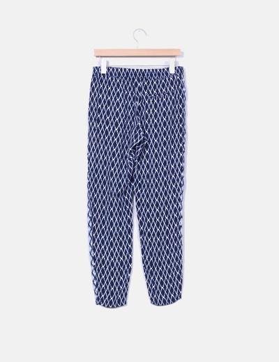 Pantalon baggy azul marino estampado etnico