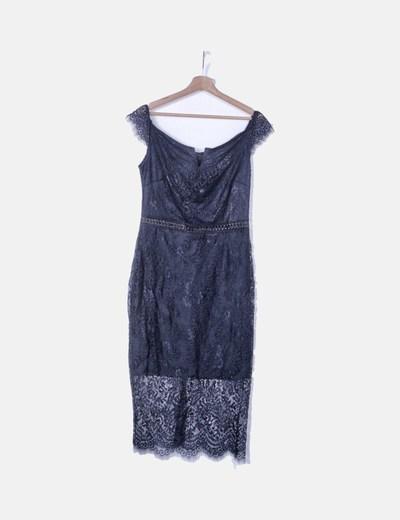 Vestido de encaje azul marino detalle escote