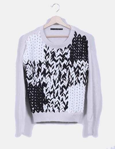 Tricot gris combinado Zara
