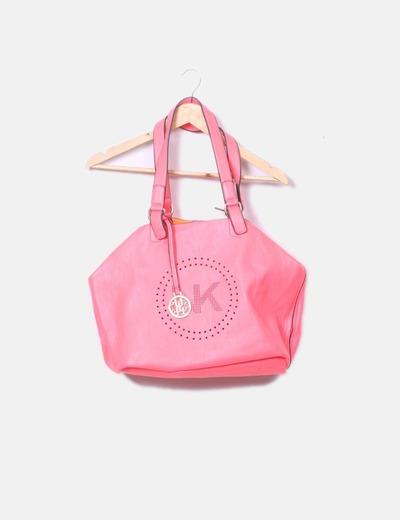 Bolso shopper flúor rosa