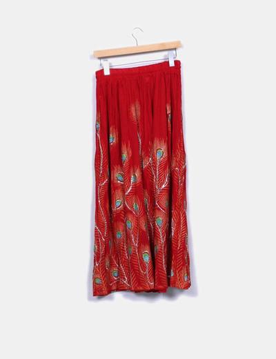 Falda maxi roja detalles bordados