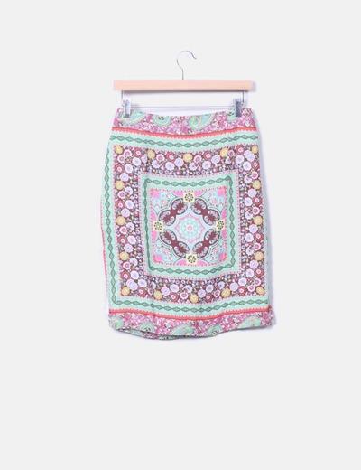 Falda midi estampada Trucco