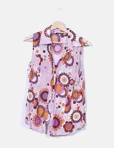 Camisa rosa estampada sin mangas NoName