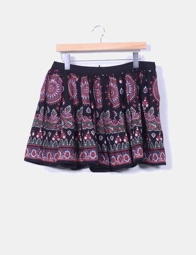 Mini falda negra estampado cachemira  Asos