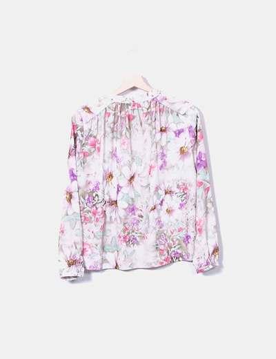 Camisa beige estampado floral