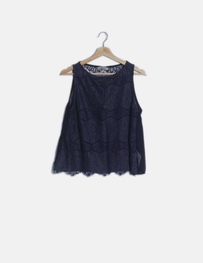 Blusa crochet combinada azul