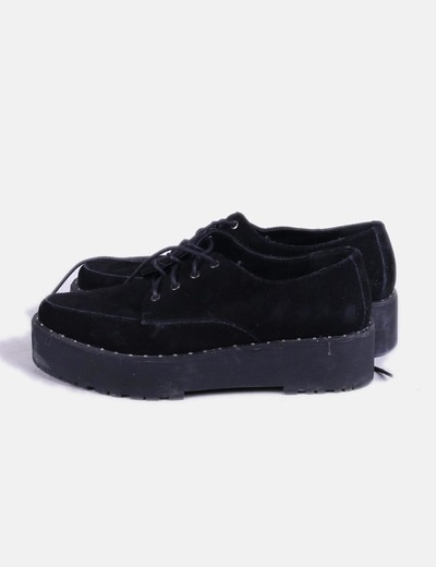 Zapatos blucher plataforma negras